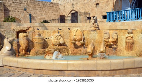 JAFFA ISRAEL 05 11 2016: Zodiac Fountain in Kdumim Square, combines effects of water, lighting, and stonework to complete the representation of the 12 chalkstone zodiac sculptures in original designs.