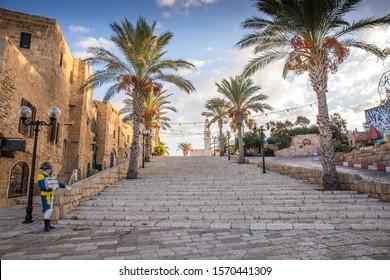 Jaffa, Israel - 2019, September 25 - Old Port of Jaffa at sunrise