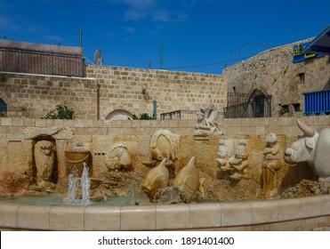 JAFFA, ISRAEL - FEBRUARY 26, 2018 : fountain of the twelve zodiacs in Old Jaffa