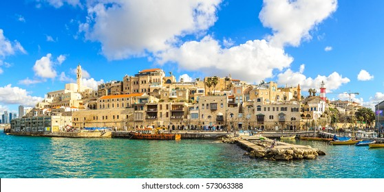 Jaffa old city and sea port. Panoramic view.