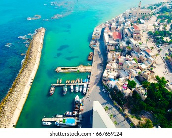 Jaffa port in Tel Aviv, Israel, Aerial view