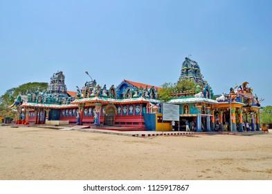 Jaffna, Sri Lanka, March 31, 2018 - Exterior view of Naga Pooshani Ambal Kovil. A kovil is an Hindu temple with Dravidian architecture.
