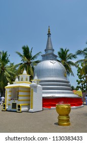 Jaffna, Sri Lanka, March 31, 2018 - The silver stupa of Nagadeepa Rajamaha Viharaya, a Buddhist temple on Nainativu island.