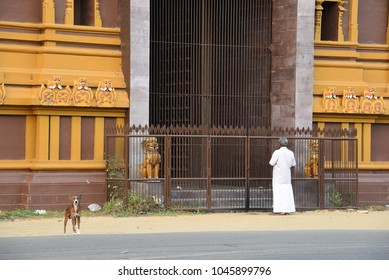 JAFFNA,SRI LANKA - JANUARY 28.2018: main hindu temple Nallur Kandaswamy Kovil on January 28,2018 in Jaffna, Sri Lanka