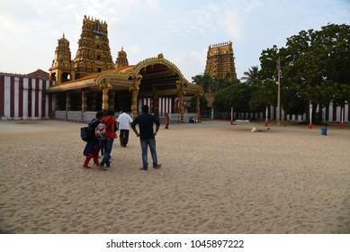 JAFFNA,SRI LANKA - JANUARY 28.2018:main hindu temple Nallur Kandaswamy Kovil on January 28,2018 in Jaffna, Sri Lanka