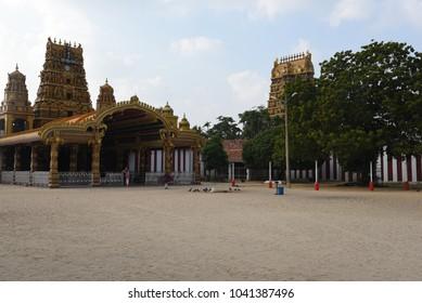 JAFFNA,SRI LANKA - JANUARY 28.2018:yard of the main hindu temple Nallur Kandaswamy Kovil  on January 28,2018 in Jaffna, Sri Lanka