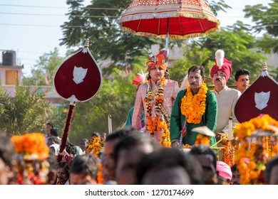 Jagadalpur, Bastar, 25,October,2012: King of Bastar tribals Kamal Chandra Bhanjdev  in his ancestral costume  leading  Dussehra festival procession on street ofJagadalpur,Bastar, Chhattisgarh,India