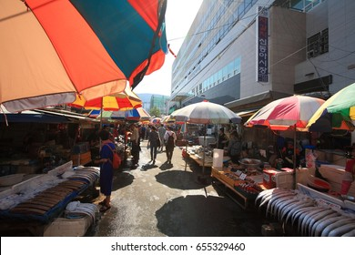 Jagalchi fish market, Busan Korea - Jun 4, 2017 : This is the most famous marine products market in Busan. It is a typical traditional market.