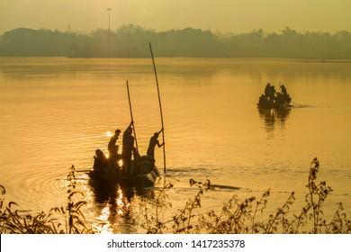 Jagdalpur ,20,December,2011 : Sweet water  fishing activity at lake  Dalpat Sagar ,Jagdalpur, Bastar, Chhattisgarh, India,Asia