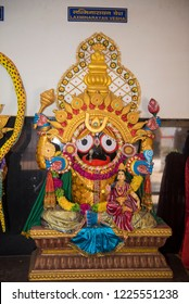 Jagdalpur / India 18 October 2018 Incarnation the Hindu god Vishnu assumed the form of a Lakshmi Narayan Besha ( Vishnu Lakshmi  )  statue at Jagannath Temple in Jagdalpur in Chhattisgarh India