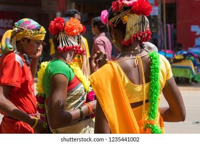 Jagdalpur / India 19 October 2018 A Group of Bastar Tribal girls in traditional dance costumes during dussehra festivalat bastar Jagdalpur in Chhattisgarh India