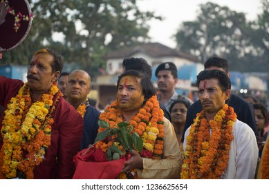 Jagdalpur / India 19 October 2018  Hindu Prince kamal chandra bhanj deo in centre welcoming goddess deities from the bastar during dussehra festival in Jagdalpur Chhattisgarh India