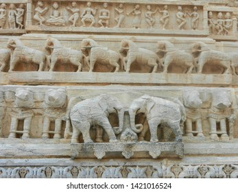 Jagdish temple, udaipur, rajasthan, India, 21st January 2018: beautiful elephants carved on white marble stone on the wall.