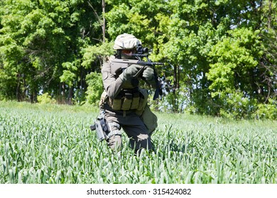 Jagdkommando soldier Austrian special forces equipped with rifle