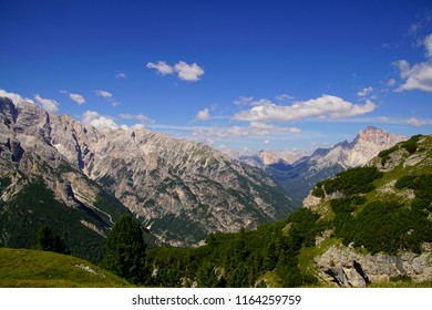 Jagged mountain and deep valley of the Monte piana area in the  Dolomites Alps, Italy