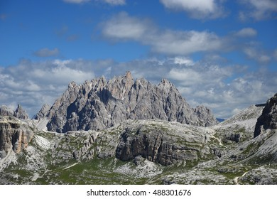 jagged mountain peaks in dolomite italy