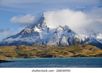 jagged mountain peaks in Torres del Paine National Park in Chilean patagonia