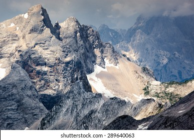 Jagged mountain ridges in the Julian Alps in Slovenia.