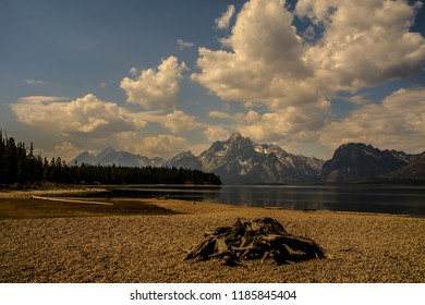 The jagged mountains of Grand Teton loom high above Jackson Lake in the Colter Bay area of Grand Teton NP in Wyoming. In the foreground is a woodpile and beautiful mountain reflections on the lake.