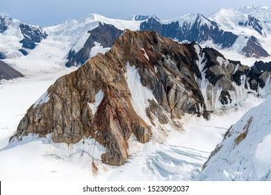 Jagged peaks among the ice fields in Kluane National Park, Yukon, Canada