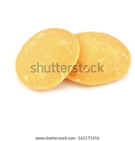 Jaggery or sugar from palm or coconut on white background