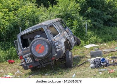 Jagodina, Serbia - July 14, 2018: Damaged Suv Traffic Accident at Highway Near Jagodina, Serbia.