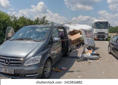 Jagodina, Serbia - July 14, 2018: Mini Van With Camper Trailer Traffic Accident at Highway Near Jagodina, Serbia.