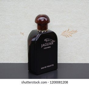 Jaguar for Men, Eau de Toilette, large perfume bottle in front of the satin wallcovering Elysee Kassel, Germany, September 15, 2018 : Jaguar for Men is a men's fragrance, launched in 1988