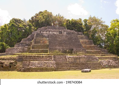 The Jaguar temple in the ancient Mayan City of Lamanai in Belize, Central America
