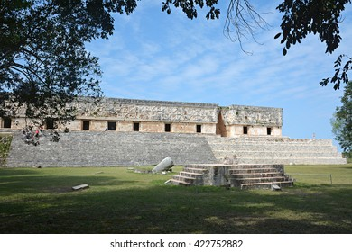Jaguar throne and Governor's Palace in the foreground. Uxmal, Yucatan Peninsula, Mexico. This is one of the most admired of pre-Columbian structures. Located in Uxmal, Yucatan, Mexico.