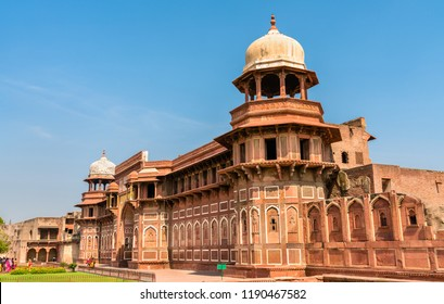Jahangir Palace at Agra Fort. UNESCO world heritage site in Uttar Pradesh, India