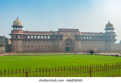 The Jahangir Palace inside the Red Fort in Agra, Uttar Pradesh state of India. Agra Red Fort was the main residence of the emperors of the Mughal Dynasty.