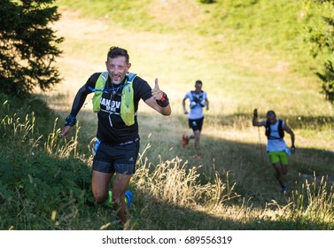 Jahorina, Bosnia and Herzegovina - 29.07.2017 - Group of runners on ultra trail running, sport activities, forest trail marathon.