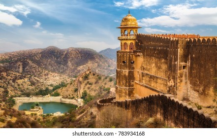 Jaigarh Fort Jaipur Rajasthan. Aerial view of Jaipur cityscape and Maota lake from the fort.