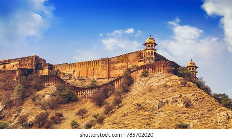 Jaigarh Fort Jaipur Rajasthan as seen from Amer Fort.