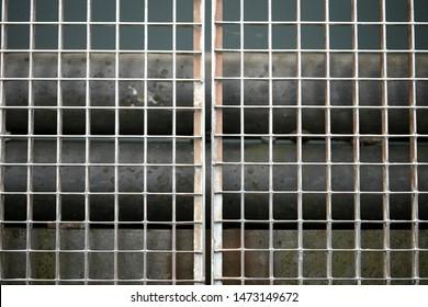 Jail metallic window with small quadrants diagonal strait lines macro background fine art high quality prints products fifty megapixels