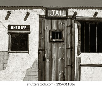Jail and Sheriff's Office in an Old West Ghost Town in black and white