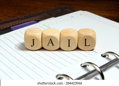 JAIL word concept on notebook