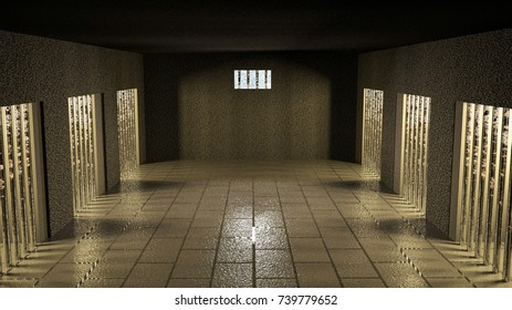 Jailhouse with cells in corridor, 3d rendering, horizontal image