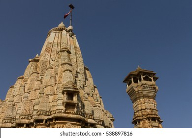 Jain Temple & Kirti Stambha (Tower of Fame), fortress of Chittor (Chittorgarh), Rajasthan, India. Chittorgarh is the largest fort in India & Asia. It's a UNESCO World Heritage Site.