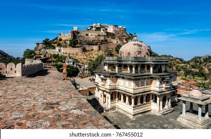 Jain Temple and Kumbhalgarh fort, Rajasthan, India.  Kumbhalgarh is a Mewar fortress in the Rajsamand District of Rajasthan state in western India and is known world wide for its great history.