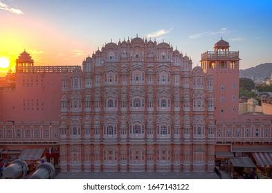 Jaipur - Hawa Mahal (The Palace of Winds), Beautifully photographed while sunset. Rajasthan.