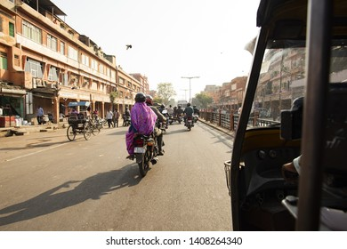 JAIPUR - INDIA - 06 DECEMBER 2018. A rickshaw (known as Tuc Tuc) driver is driving on the streets of Jaipur in India. Jaipur is the capital and the largest city of the Indian state of Rajasthan, India