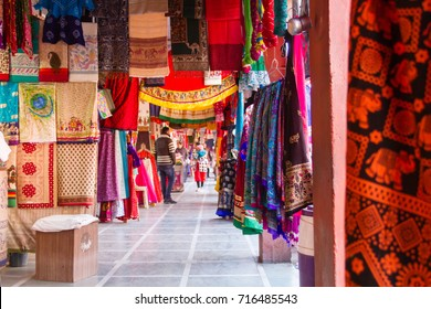 Jaipur, India, 11th January 2017 - A cloth market in Jaipur, Rajasthan, India