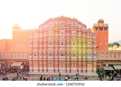 JAIPUR - INDIA - 12 DECEMBER 2017. Beautiful view of the Hawa Mahal at sunset in Jaipur, India. The Hawa Mahal is a palace in Jaipur, India. It is constructed of red and pink sandstone.