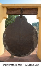 Jaipur / India 16 November 2018 Yantra Raj Yantra bronze astrolabe one of the largest in the world used only once a year calculates the Hindu calendar at Jantar Mantar Jaipur in Rajasthan India