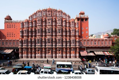 Jaipur, /India,/ 17 Nov 2018; Palace of Winds or Hawa Mahal (Palace of Winds) is a symbol of Jaipur city, where travelers will have to visit the window with a pinkish-orange 953, making it cool inside