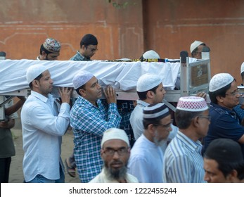 Jaipur, India, 18th to 22nd September 2018 A group of people carrying the casket of a loved one during the time prior to burial.