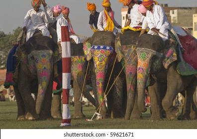 JAIPUR, INDIA - 3 MARCH: Polo being played at the annual Elephant Festival on March 3, 2007 in Jaipur, Rajasthan, India.