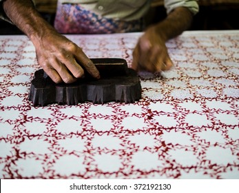 Jaipur, India - Circa December 2015 - Block printing in Jaipur